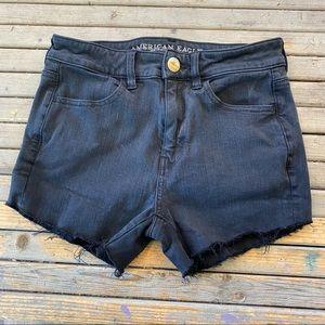 American Eagle black high rise jean shorts size 2